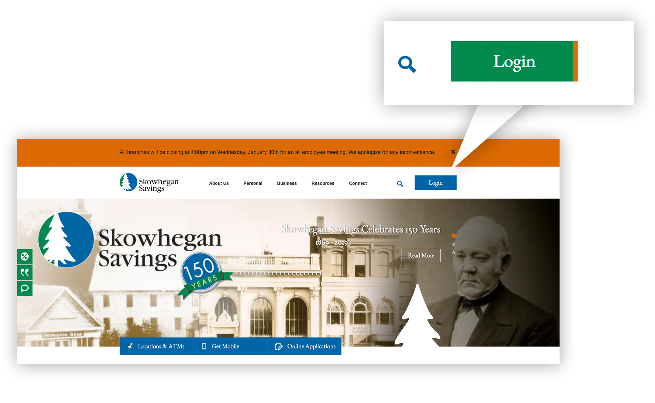 A screenshot of the Skowhegan Savings home page, featuring a look at our online banking login button