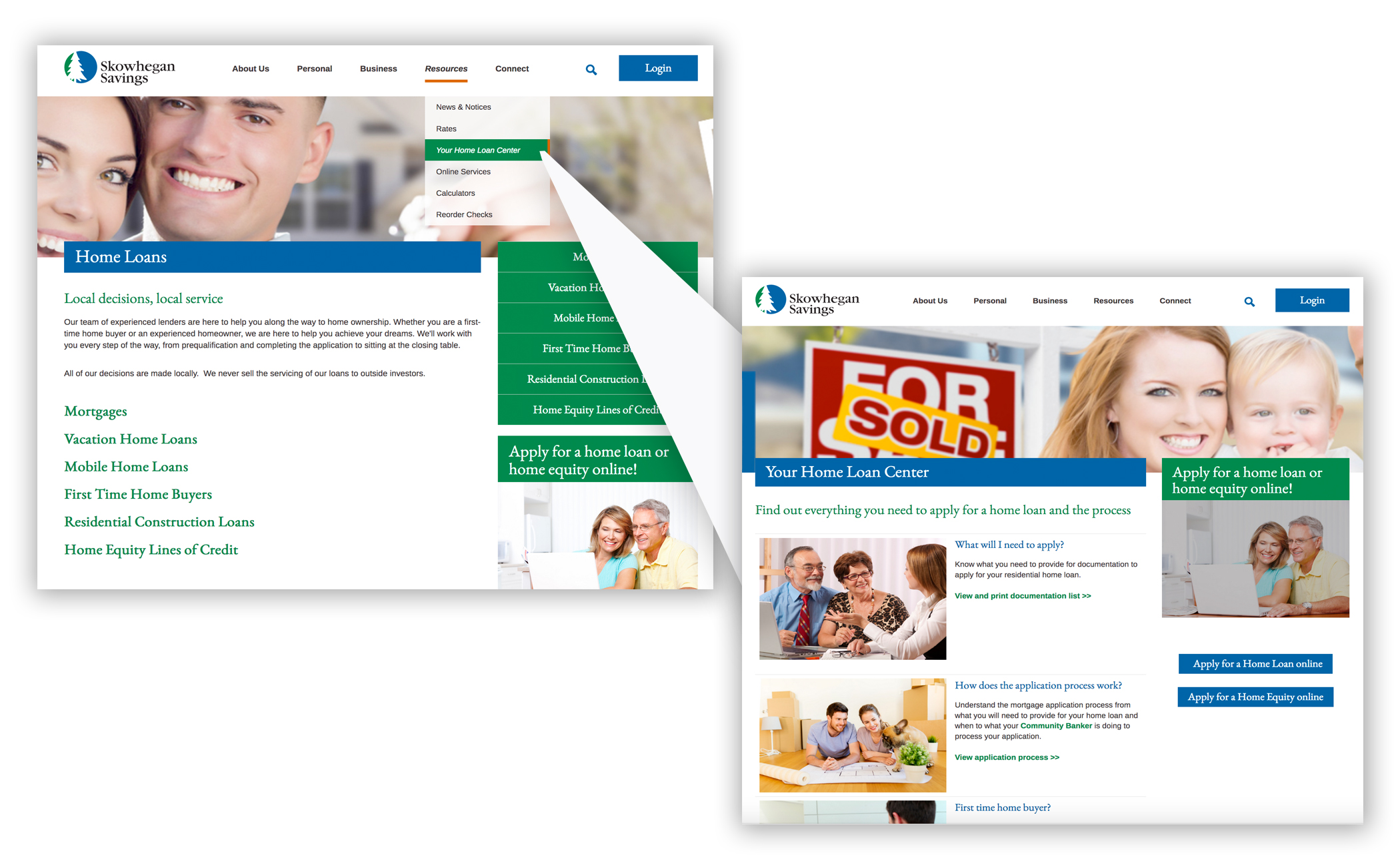 "Showing ""Your Home Loan Center"" page on Skowhegan Savings site."